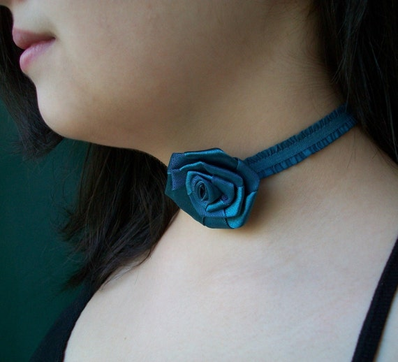 Blue Rose Ruffled Choker - Removable and Movable Rose Focal Point