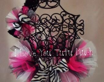 Funky Zebra Newborn Infant Tutu with headband by I Love You Tutu Much