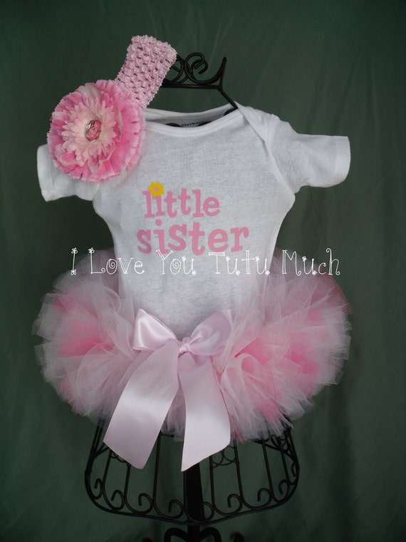 Newborn Little Sister Tutu with Onesie and Headband by I Love You Tutu Much