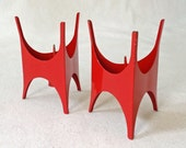 Vintage Takahashi Mid Century Modern Midcentury Candle Stick Holders Dane Decor Red