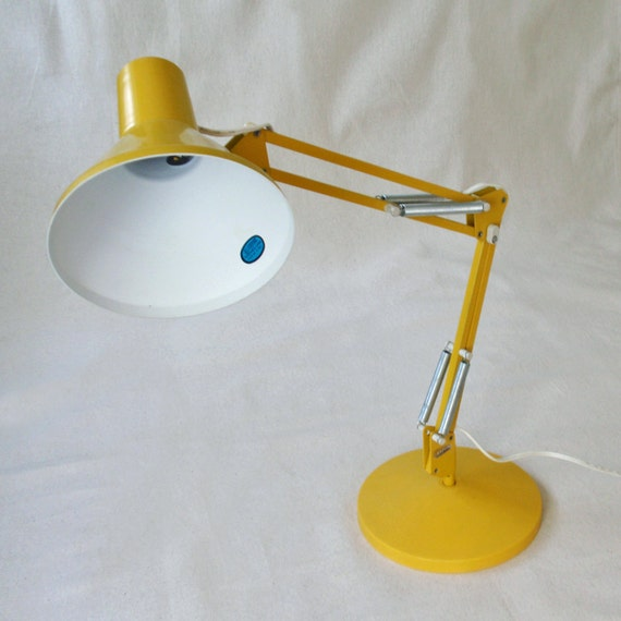 Vintage Yellow Luxo Portable Desk Lamp With Base