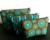 Make-up bag set - Teal and Brown