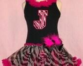 Initial Me Zebra  or Birthday Cupcake Hot Pink Personalized Pettidress