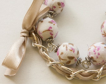 White cotton beads and beige ribbon bracelet
