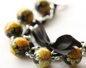Yellow Roses and Black Satin Ribbon Bracelet