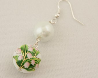 Lily of the Valley and White Pearls Earrings