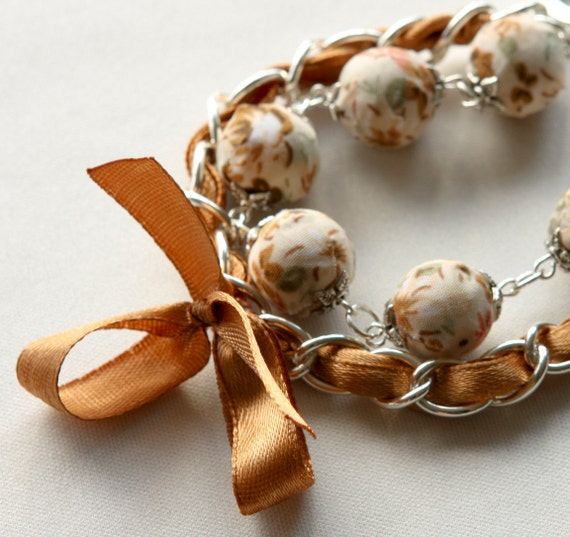 Brown satin ribbon and fabric beads bracelet