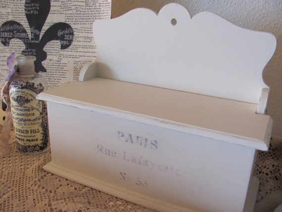 One of a Kind French Themed Cream Wooden Box, French Country, Paris Apartment