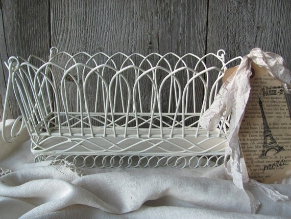 French Country Cream Wire Basket With Eiffel Tower Tag