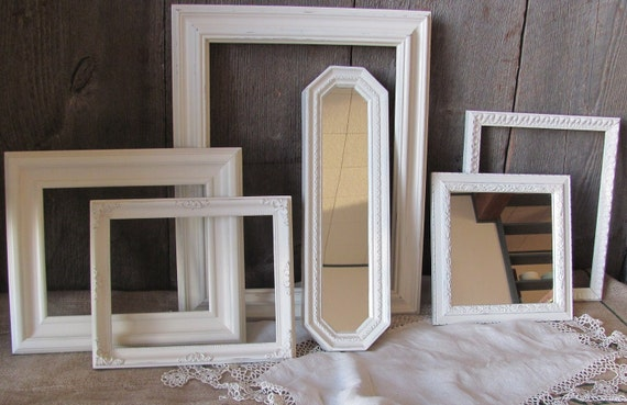 Six Piece Set Of Heirloom White Picture Frames and Mirrors