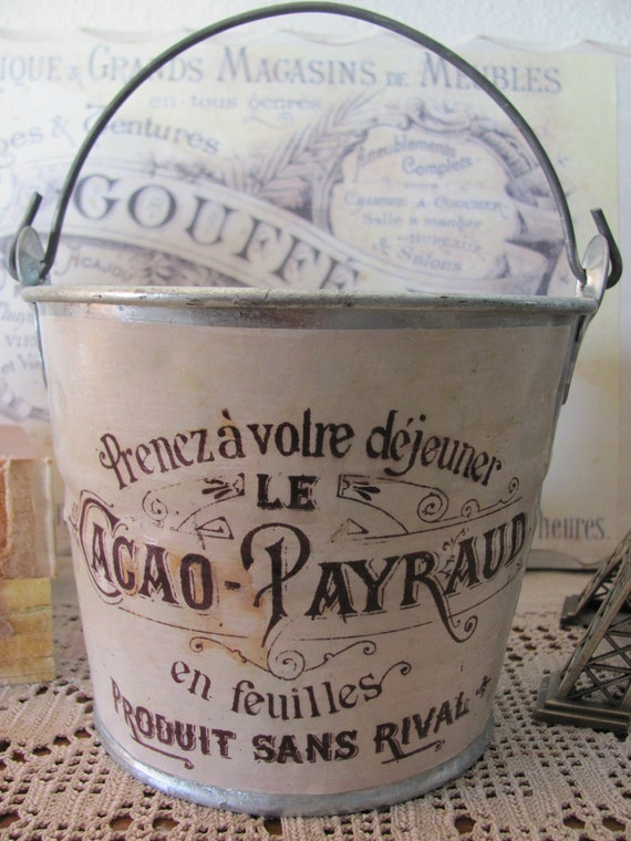 French Themed Galvanized Pail