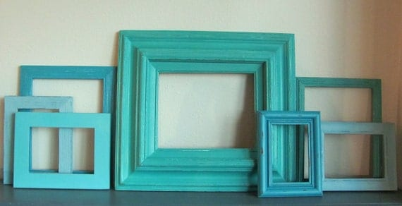 Picture Frames Turquoise, Blue, and Aqua Picture Frame Collection Beach Wedding Frames