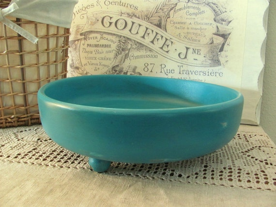 Turquoise Wooden Bowl Beach Cottage Wood Bowl