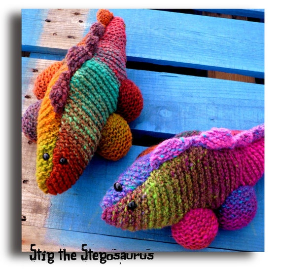 Knitting Patterns For Dinosaurs : Items similar to Stig the Stegosaurus - Dinosaur knitting pattern on Etsy