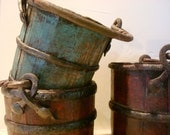 Antique Jade Green colored Rice Bucket with Hand Forged Iron