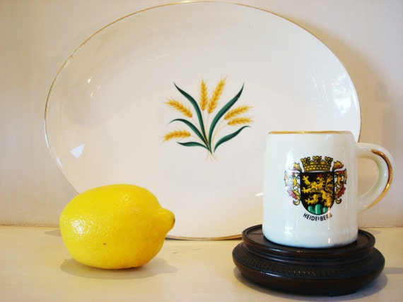 Vintage Serving Platter, White, Yellow, Fall, Autumn, Harvest,   Wheat Design vintage by ChaseVintage on Etsy
