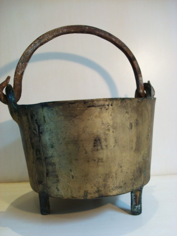 Vintage Brass and Wrought Iron Footed Pot or Planter