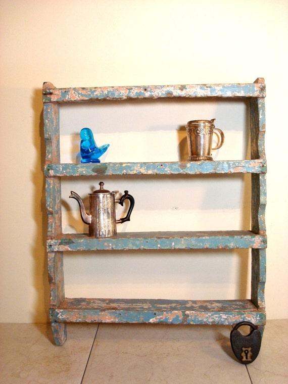 Vintage Blue handmade Hanging Spice Rack