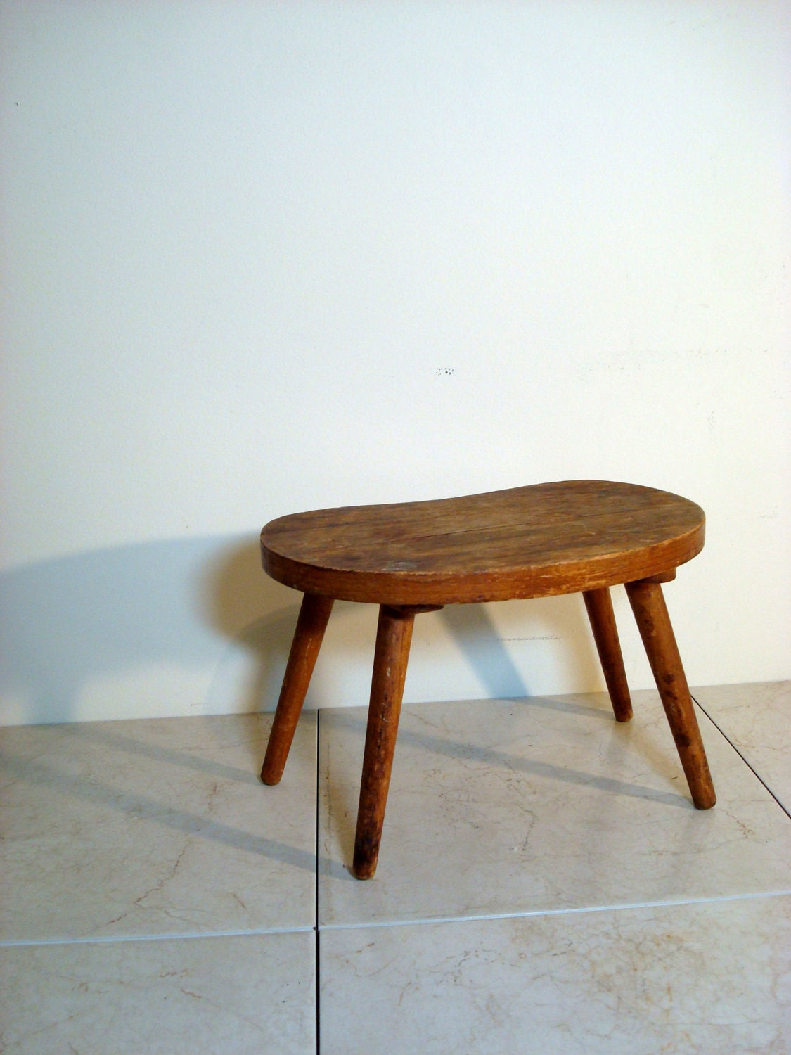 Vintage Small Wooden Handmade Milking Stool By Chasevintage