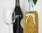 Wine Bottle Cozy in Honey Mustard