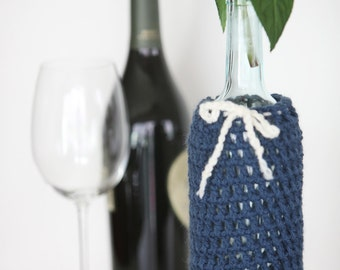 Wine Bottle Cozy in Indigo