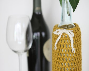 Wine Bottle Cozy in Honey Mustard