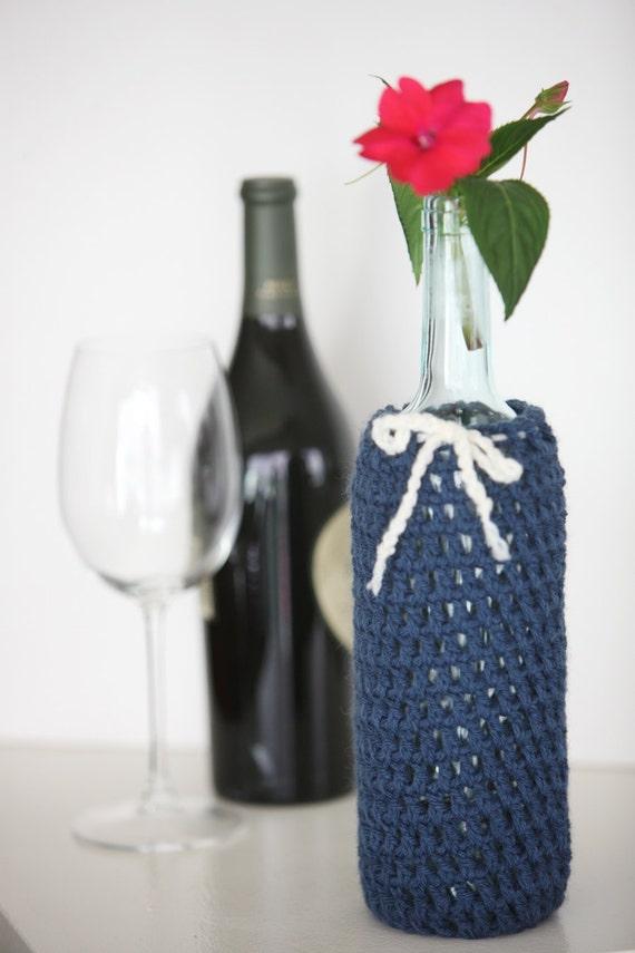 Wine Bottle Cozy in Indigo