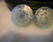 Aquamarine Vintage inspired lace design Earrings
