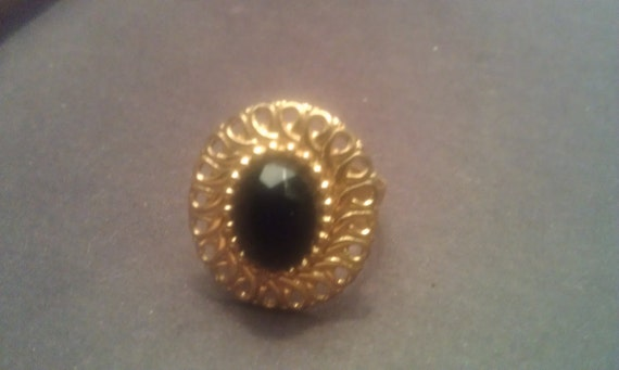 The Onyx Bewitching Ring (vintage upcycled,adjustable)