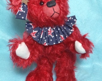 Teddy Bear -Liberty,  One of a Kind Mohair Artist Bear , 8 inches