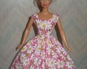 Pink daisy handmade barbie dress