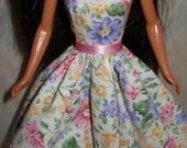 "Floral handmade 11/5"" fashion doll dress"
