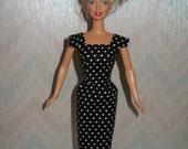 Handmade Barbie sheath - vintage style black and white polka dot