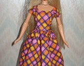 Handmade Barbie doll dress - bright cotton print
