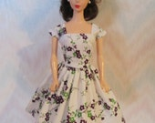 Handmade Barbie doll clothes - white and purple floral dress