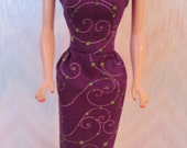 "Handmade 11.5"" fashion doll clothes - purple sheath"