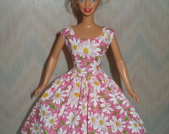 Handmade Barbie doll clothes - pink and white daisy print dress