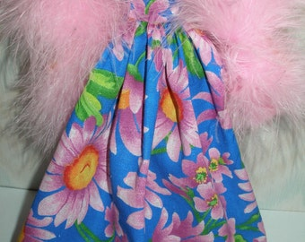 """Handmade 11.5"""" fashion doll clothes - blue and pink floral gown with pink boa"""