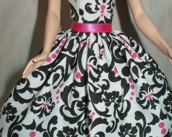 "Handmade 11.5"" Fashion doll clothes - white, black and pink dress"