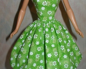 "Handmade 11.5"" fashion doll clothes - green and white floral dress"
