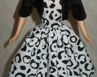"Handmade 11.5"" fashion doll clothes - white and black print dress with black jacket"