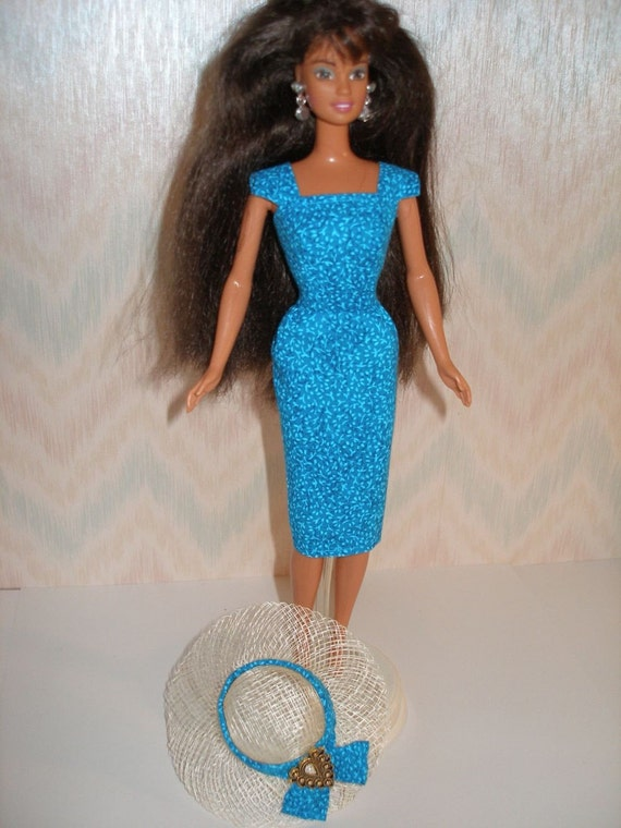 Handmade vintage style barbie sheath with hat