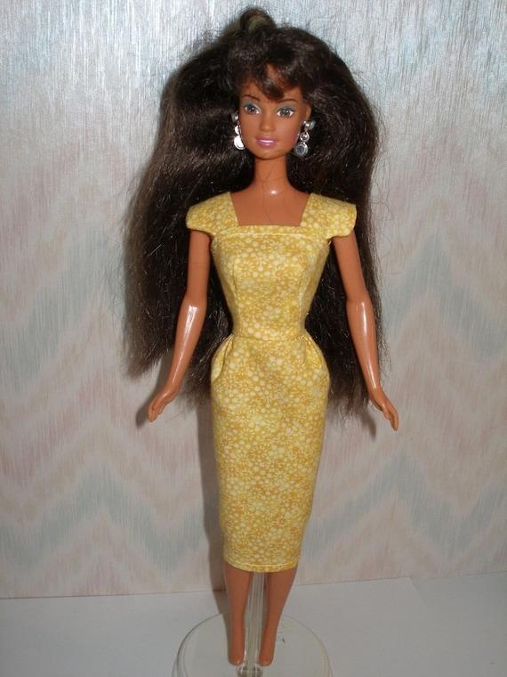 Yellow handmade barbie dress - vintage style sheath
