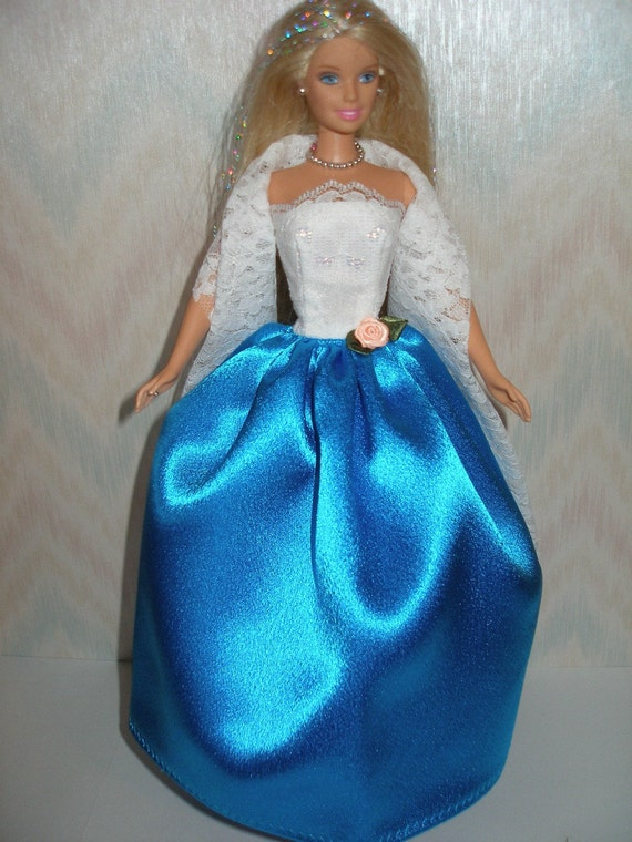 Turquoise Barbie House: Handmade Barbie Clothes White Lace And Turquoise Satin Gown