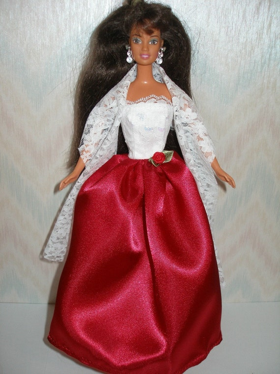 Handmade Barbie doll clothes - white lace and red satin gown with lace stole