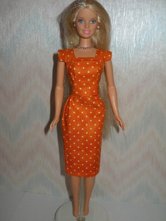 Handmade Barbie clothes - orange and white polka dot vintage style sheath