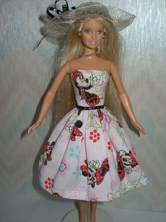Handmade Barbie Clothes - pink print dress with hat
