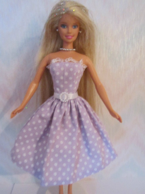 Handmade Barbie clothes - orchid and white polka dot dress