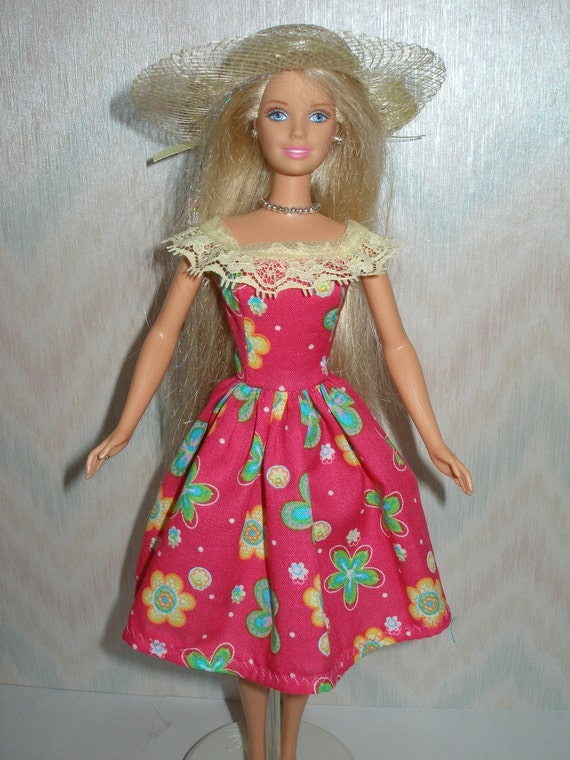 Handmade Barbie clothes - pink floral dress and hat