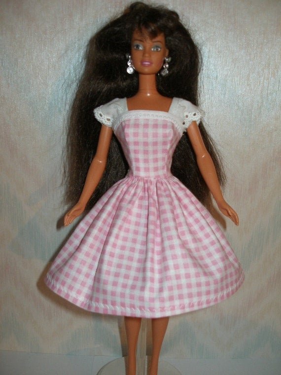 Handmade Barbie clothes - Pink gingham and eyelet dress